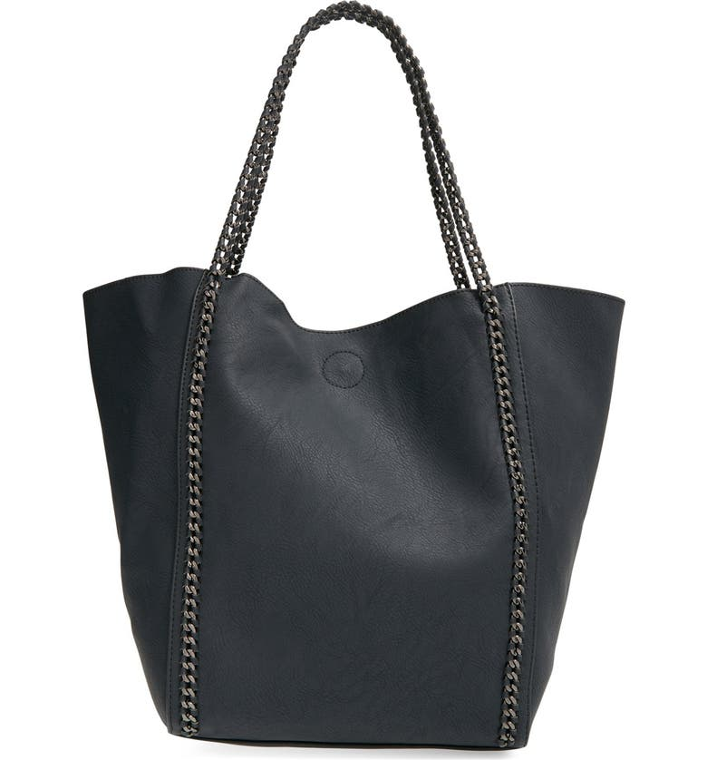 PHASE 3 Chain Faux Leather Tote, Main, color, 001