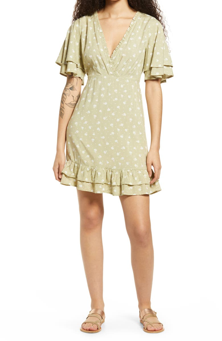BILLABONG x The Salty Blonde In Bloom Floral A-Line Dress, Main, color, MATCHA