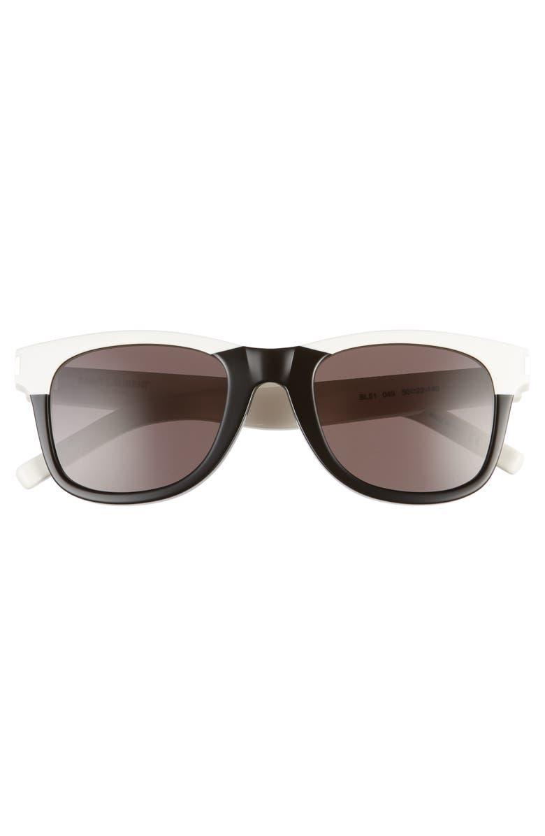 SAINT LAURENT 50mm Rectangular Sunglasses, Main, color, BLACK