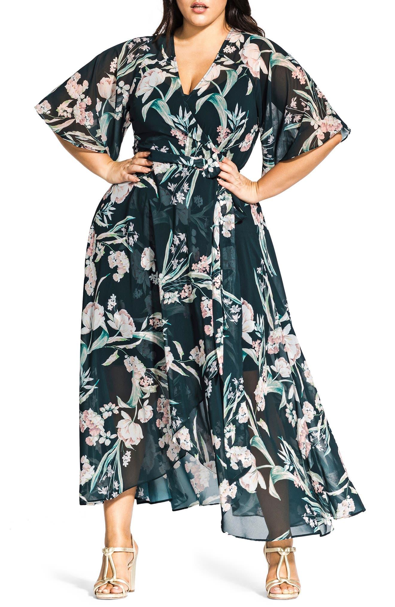 Plus Size City Chic Fresh Fields Maxi Wrap Dress, Blue
