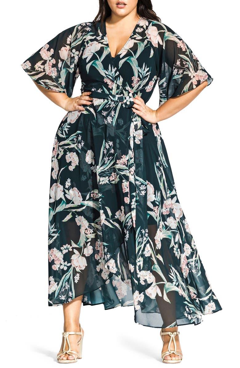 City Chic Fresh Fields Maxi Wrap Dress (Plus Size) | Nordstrom