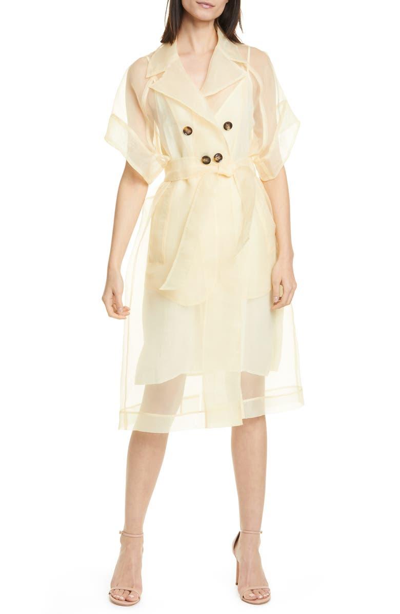 BAUM UND PFERDGARTEN Devoré Sheer Double Breasted Wrap Dress, Main, color, VANILLA CUSTARD YELLOW