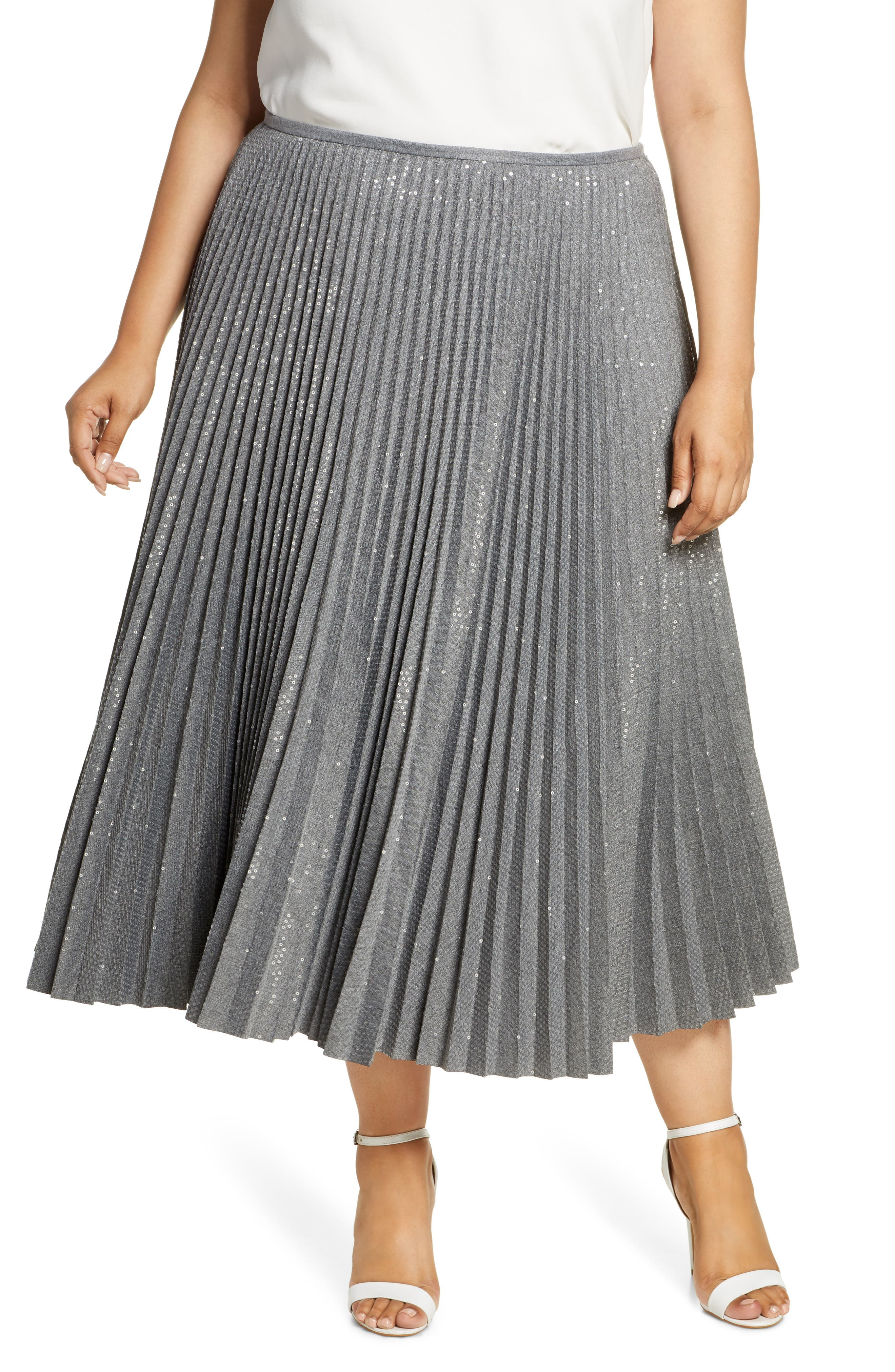 60s Skirts | 70s Hippie Skirts, Jumper Dresses Plus Size Womens Lafayette 148 New York Jahira Sequin Pleated Midi Skirt $848.00 AT vintagedancer.com