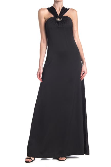 Image of Ted Baker London Metal Ring Halter Maxi Dress