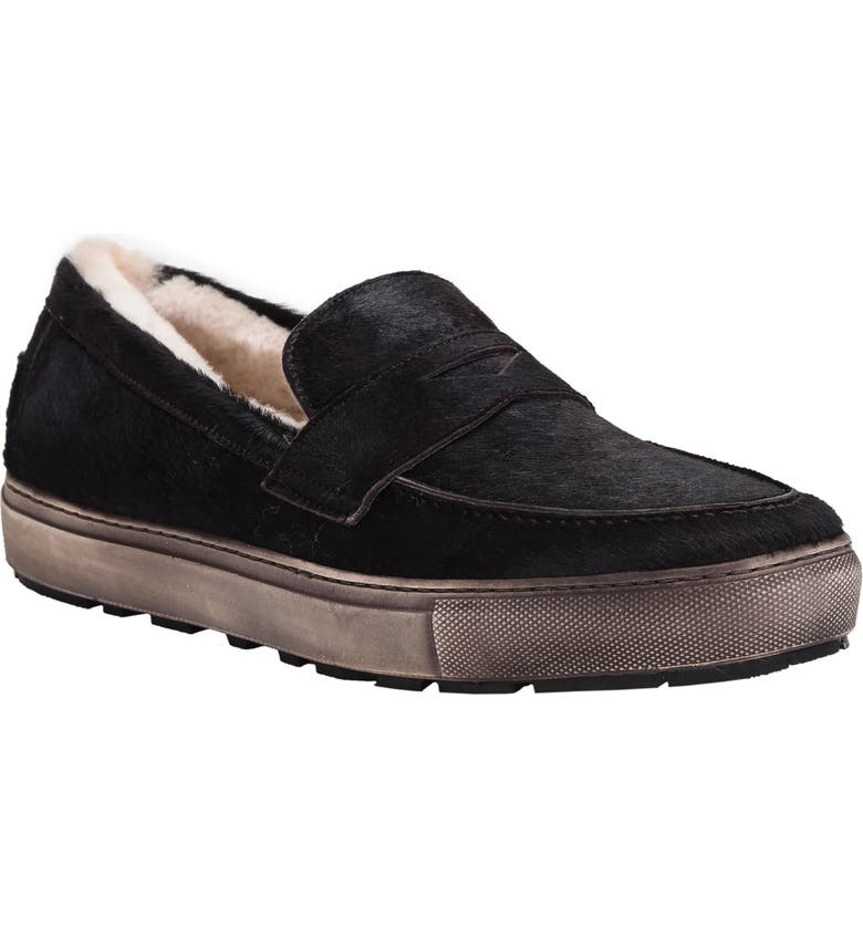 ROSS & SNOW Matteo Genuine Shearling Loafer Sneaker, Main, color, BLACK/ BROWN PONY