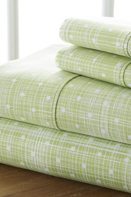 Image of IENJOY HOME Home Spun Premium Ultra Soft Polka Dot Pattern 3-Piece Twin Bed Sheet Set - Moss
