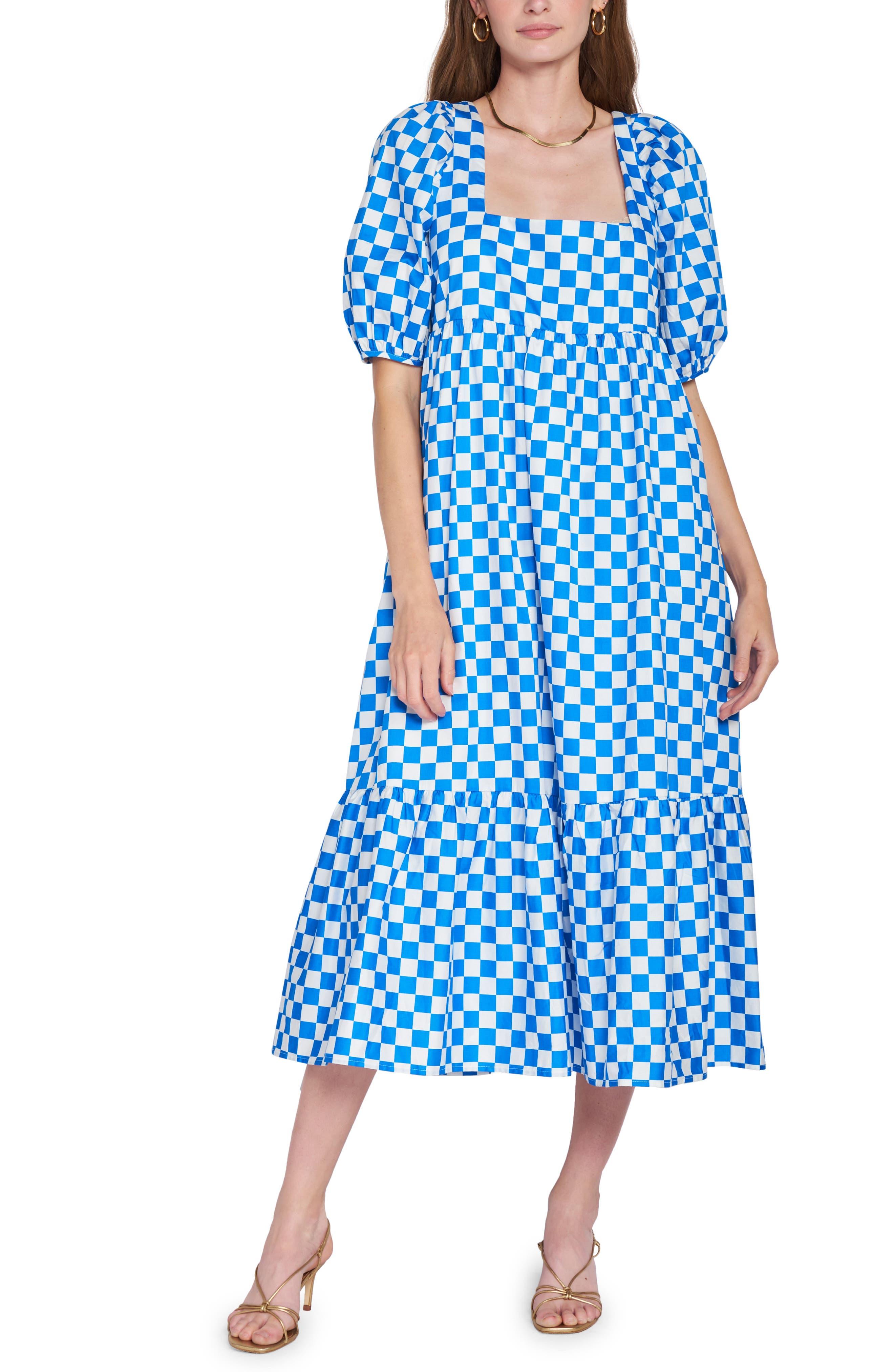 Check Print Tiered Cotton Midi Dress