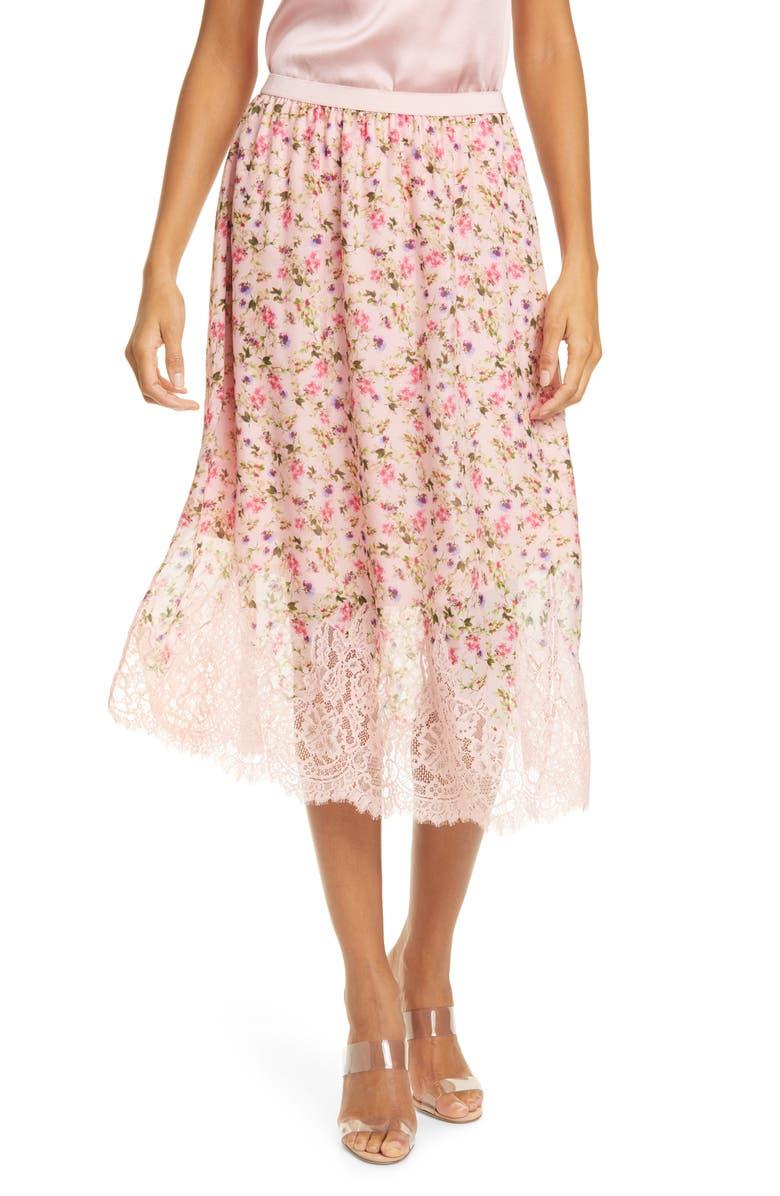 CAMI NYC The Quana Lace Trim Floral Silk Skirt, Main, color, 650