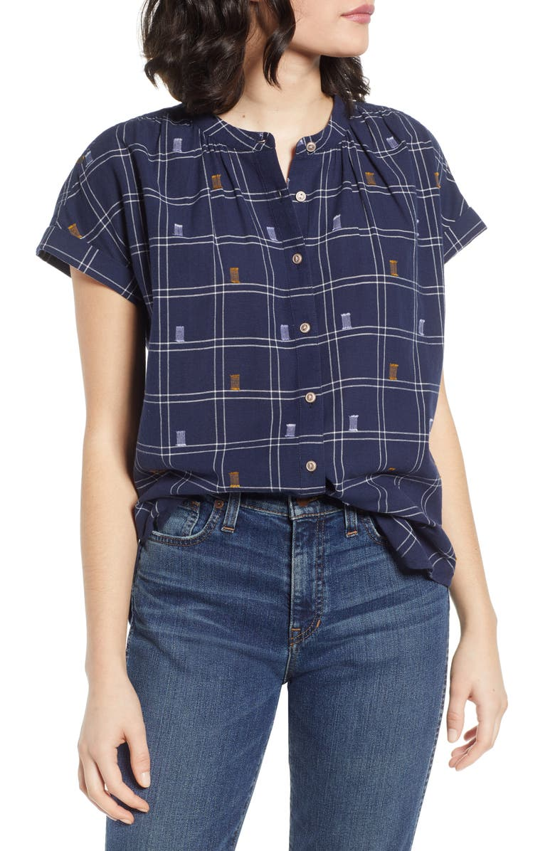 CASLON<SUP>®</SUP> Jacquard Camp Shirt, Main, color, NAVY CHECK