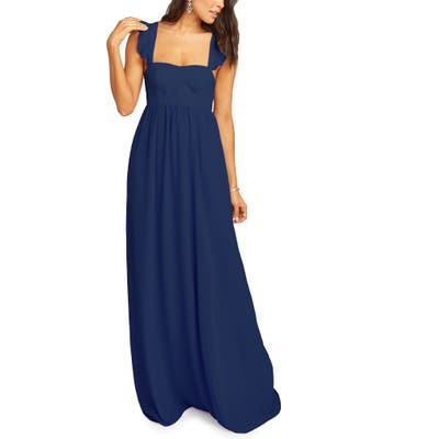 Show Me Your Mumu June Ruffle Strap Evening Dress, Blue