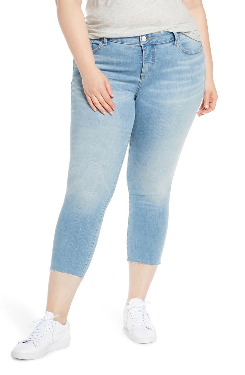 SLINK JEANS Raw Hem Crop Skinny Jeans, Main, color, CATRINA