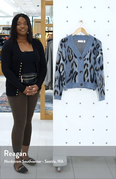 Leopard Jacquard Cardigan Sweater, sales video thumbnail