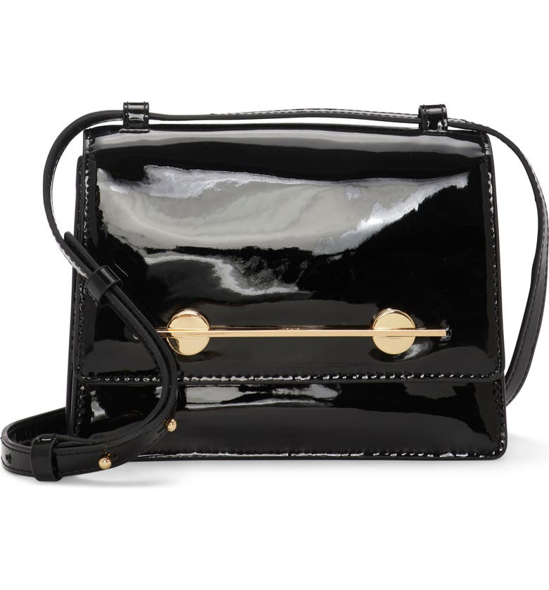 VINCE CAMUTO Maeve Patent Leather Shoulder Bag, Main, color, BLACK