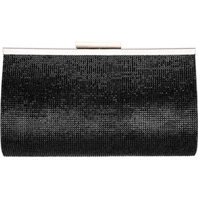 Nina Crystal Frame Clutch - Black
