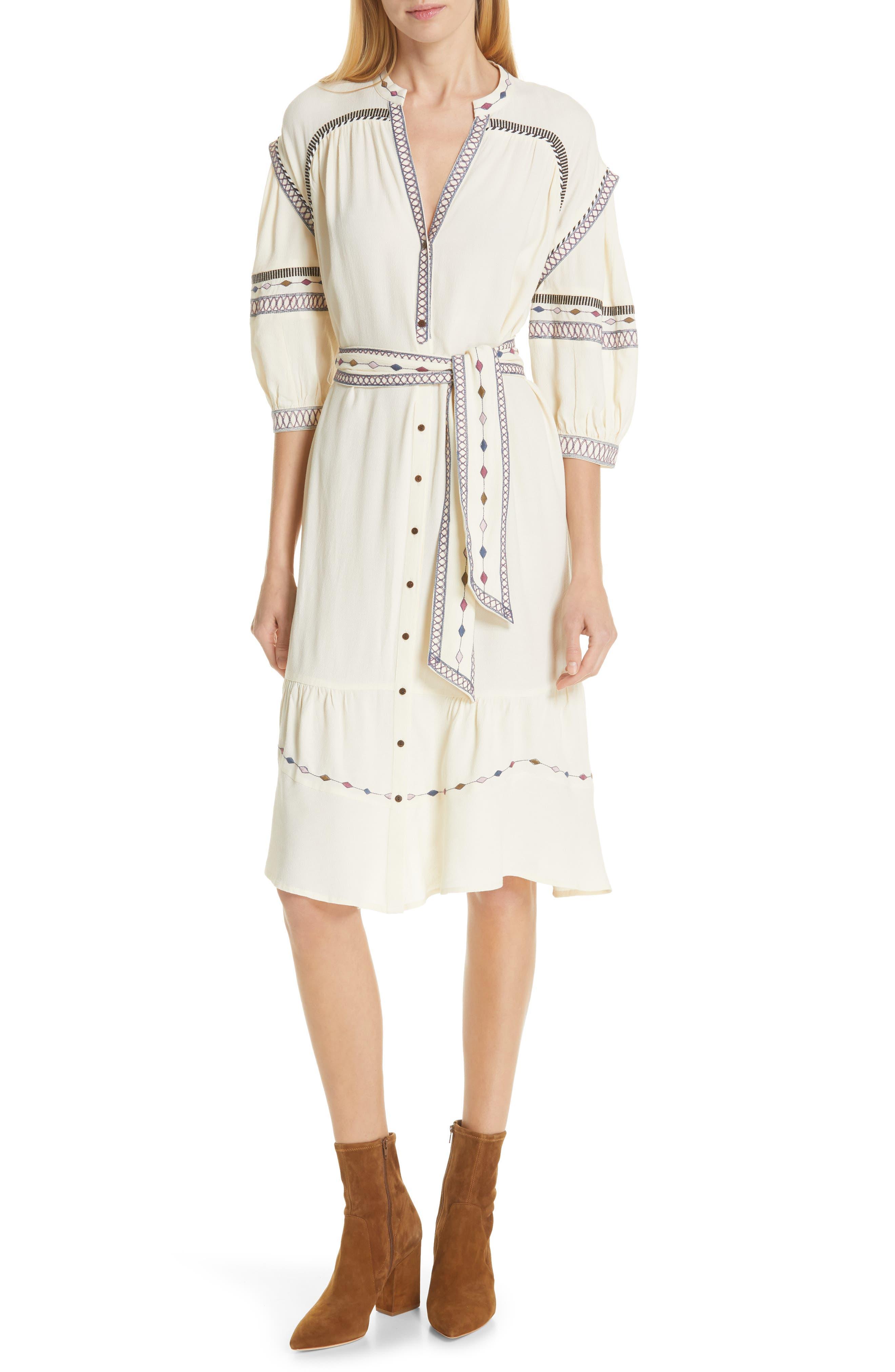 Ba & sh Patty Embroidered Dress, Ivory
