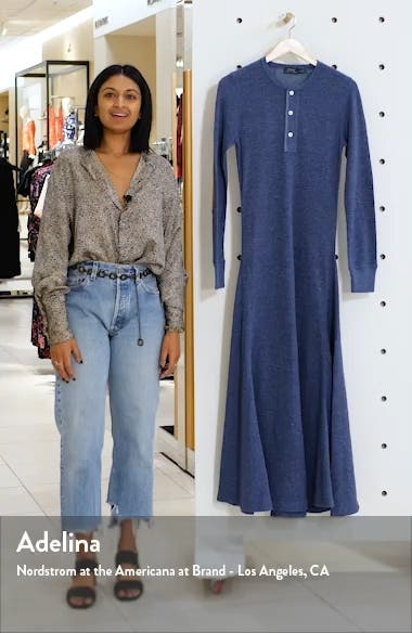 Suede Elbow Patch Long Sleeve Henley Dress, sales video thumbnail