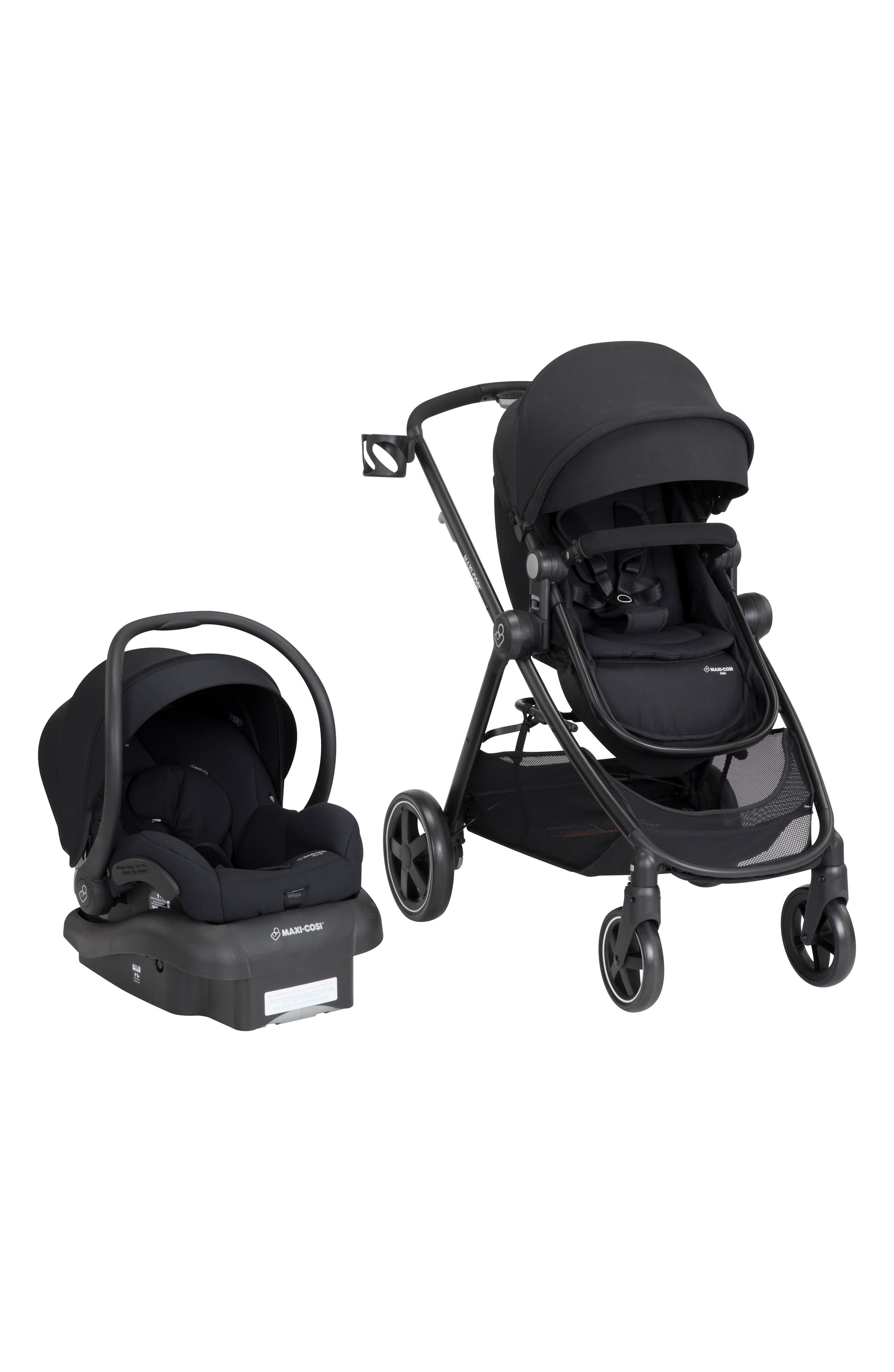 ,                             5-1 Mico 30 Infant Car Seat & Zelia Stroller Modular Travel System,                             Main thumbnail 1, color,                             NIGHT BLACK