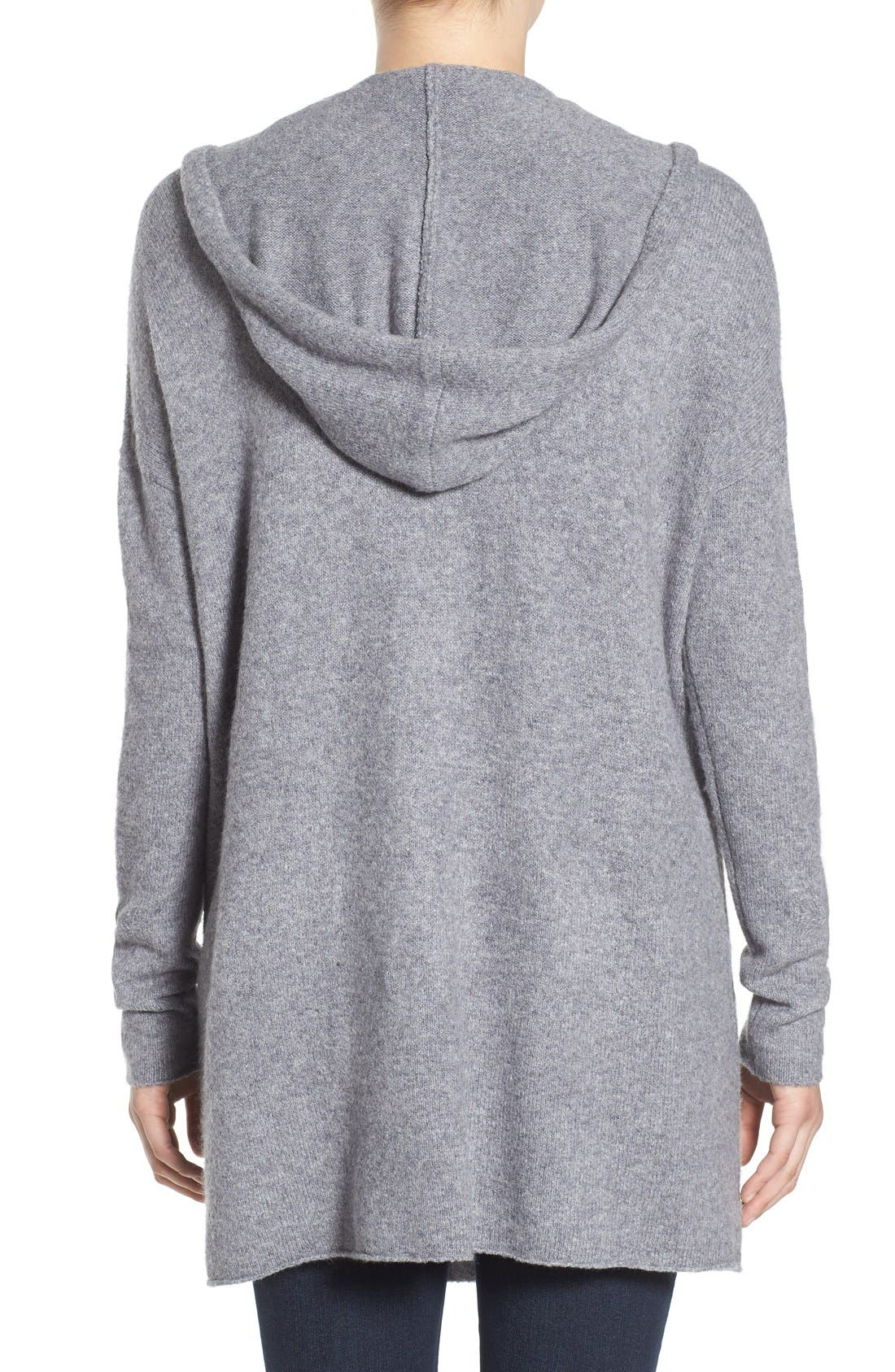 ,                             Hooded Longline Cardigan,                             Alternate thumbnail 3, color,                             030