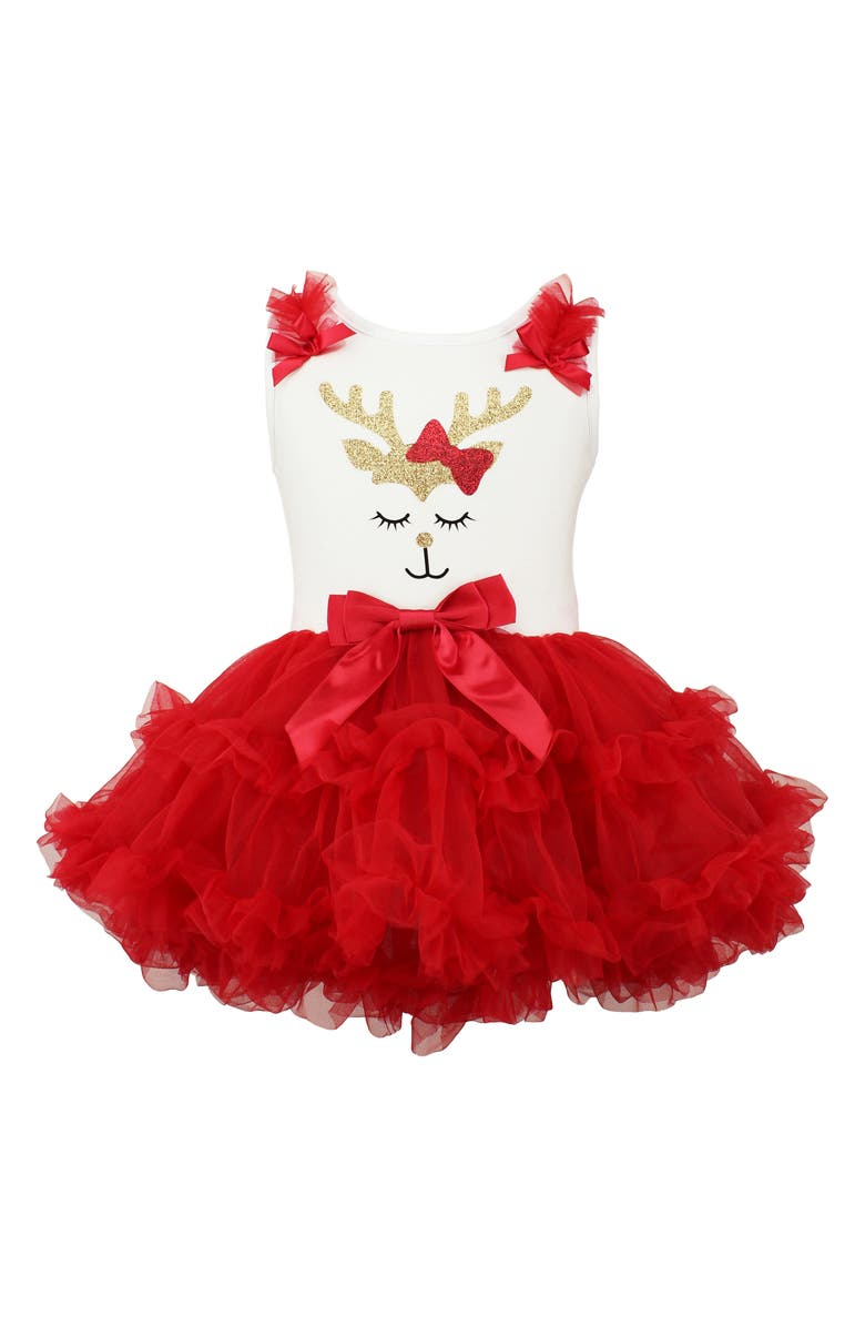 POPATU Deer with Bow Sparkle Pettidress, Main, color, RED