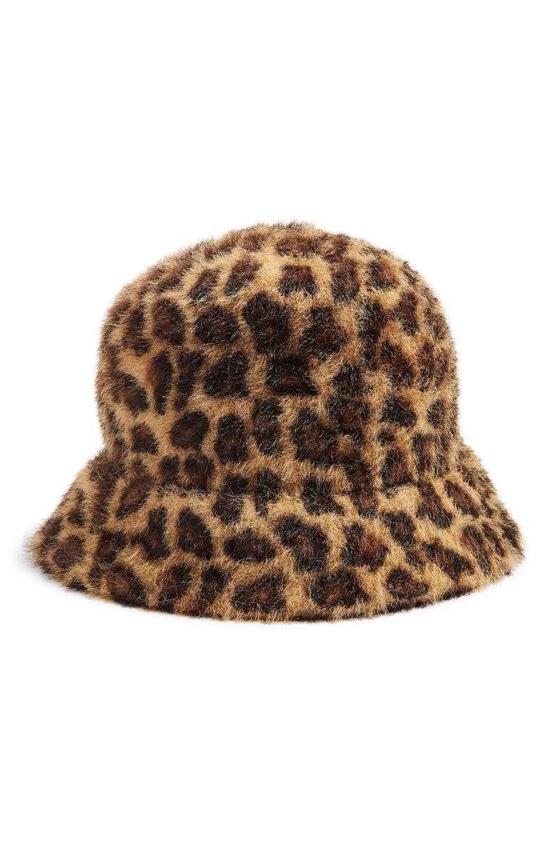TOPSHOP Fluffy Bucket Hat, Main, color, LEOPARD