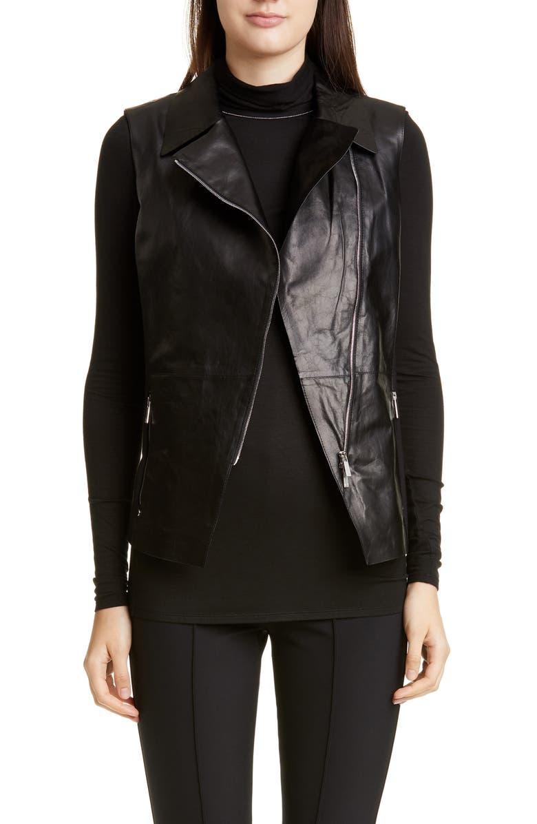LAFAYETTE 148 NEW YORK Nevaeh Leather Moto Vest, Main, color, BLACK