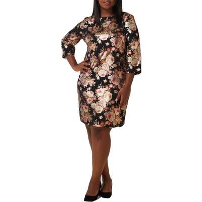 Plus Size Maree Pour Toi Foil Print Sheath Dress, Black