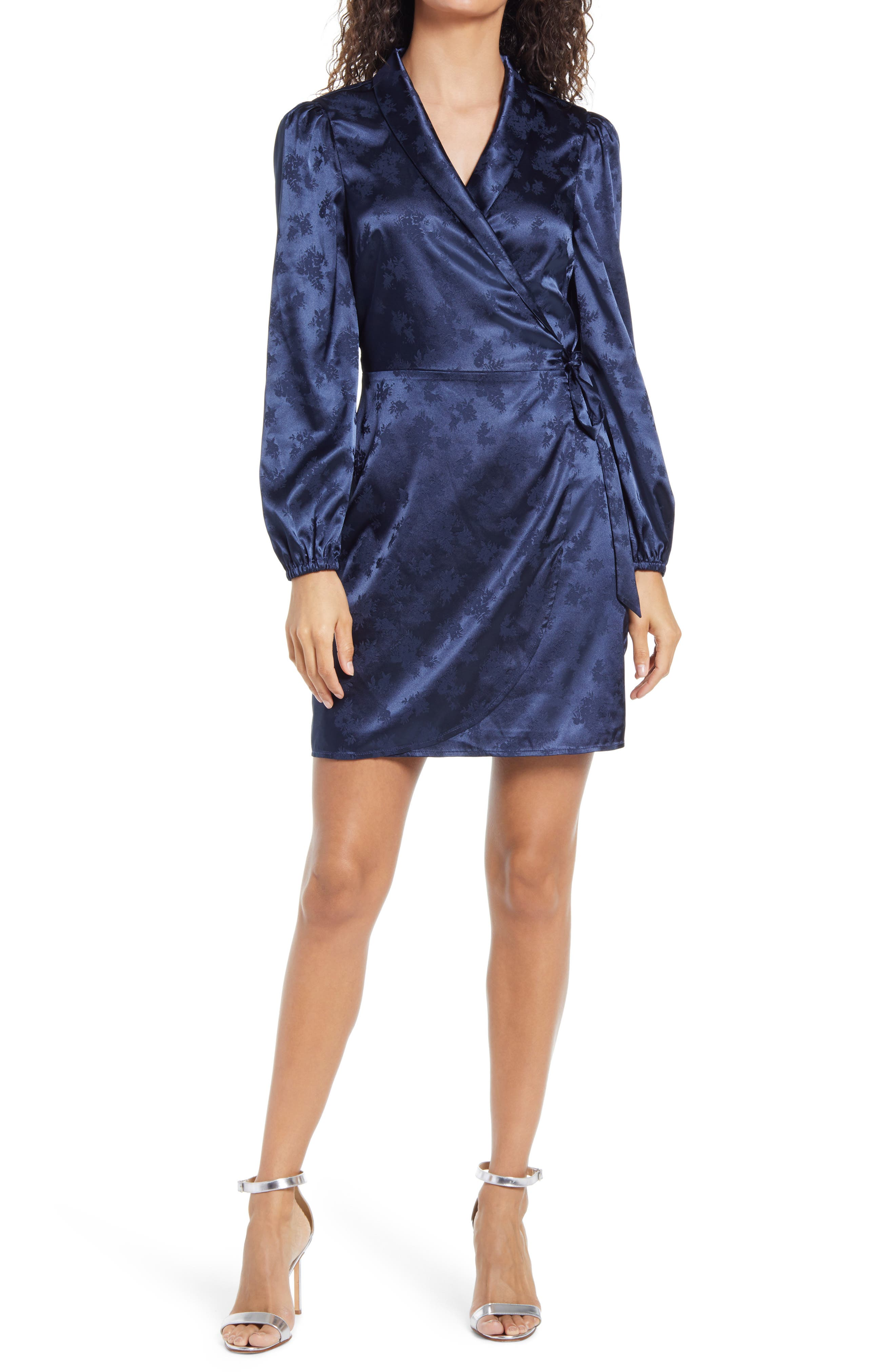 Elisa Jacquard Long Sleeve Minidress