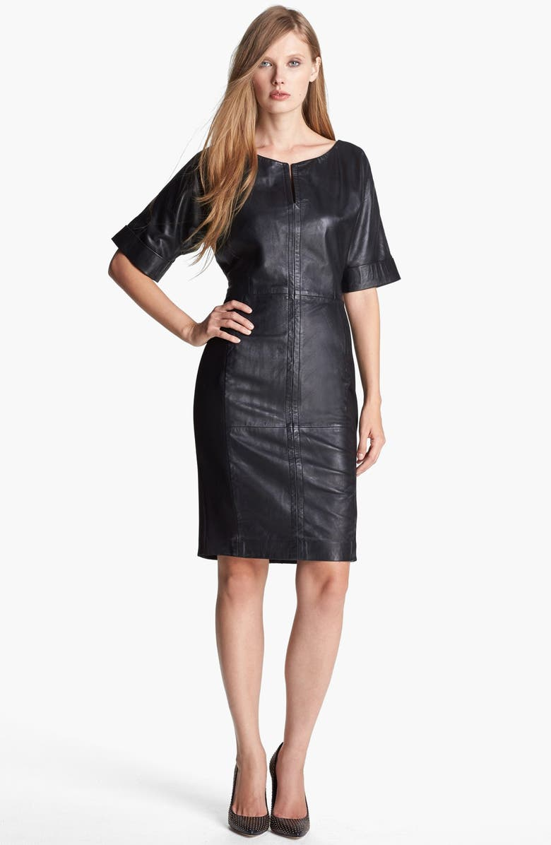FRENCH CONNECTION Seamed Leather Sheath Dress, Main, color, 001