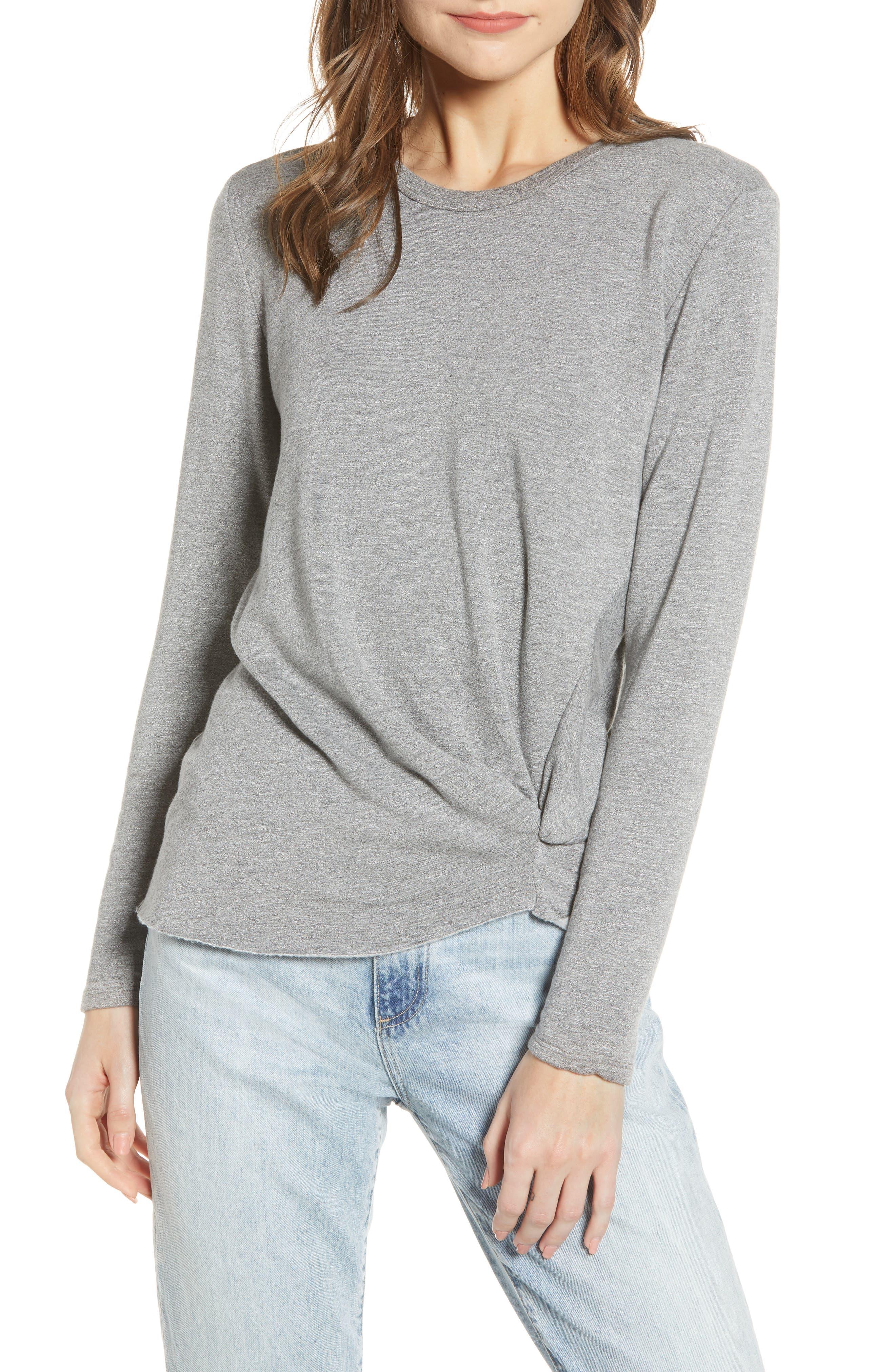 Stateside Twist Front Fleece Sweatshirt, Grey