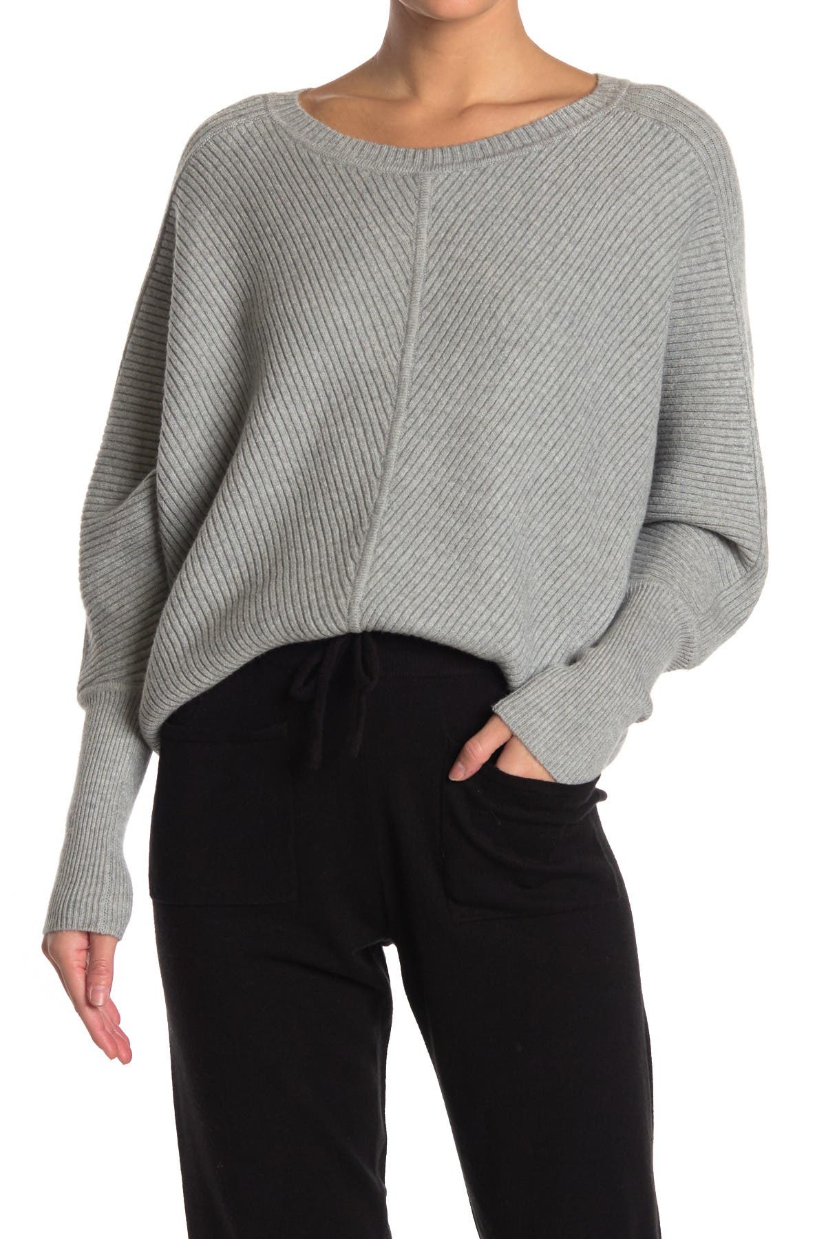 Image of Cyrus Ribbed Dolman Sleeve Pullover Sweater