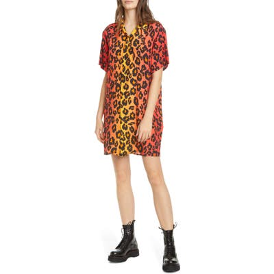 R13 Leopard Print Skater Shirtdress, Orange