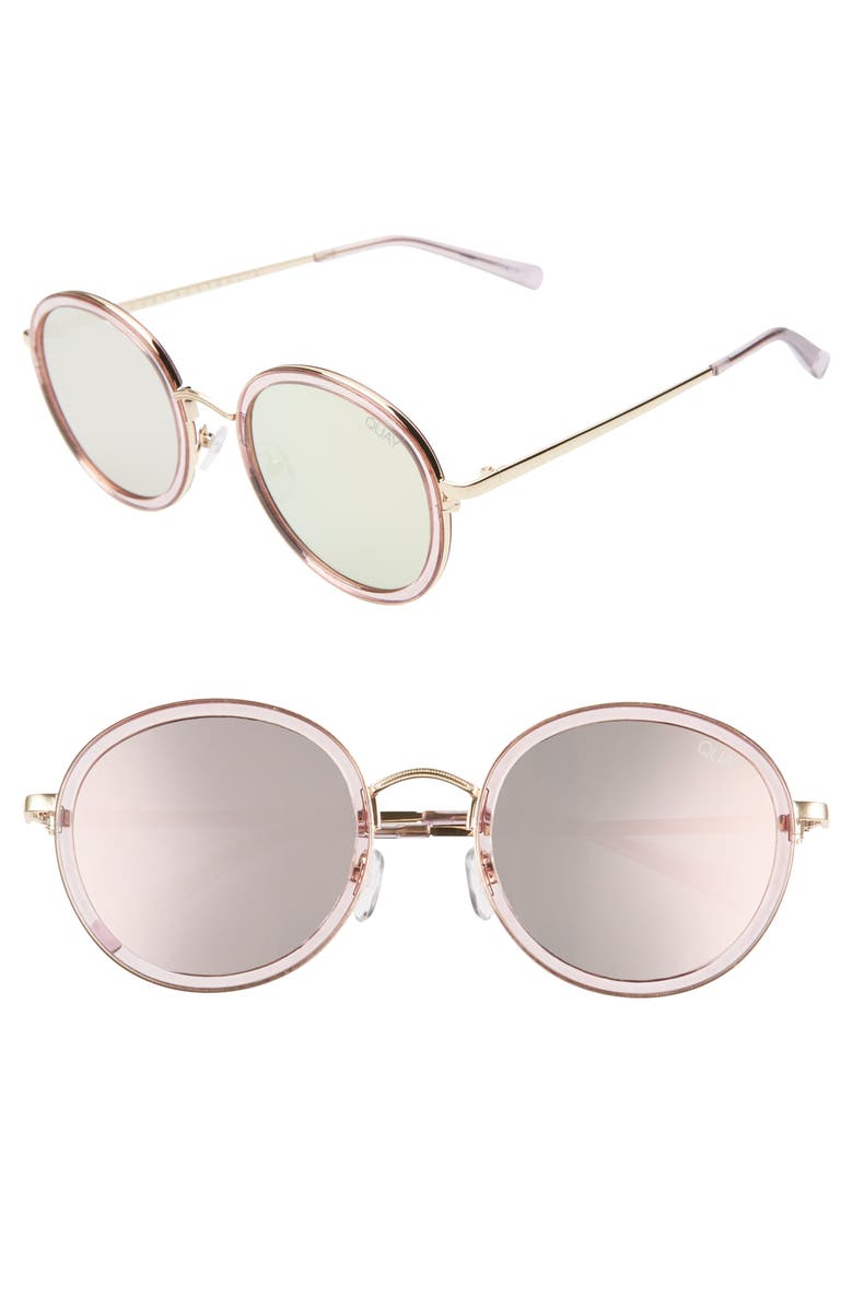 QUAY AUSTRALIA Firefly 52mm Round Sunglasses, Main, color, VIOLET/ PINK