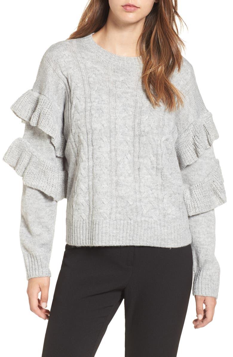 WAYF Sophie Ruffle Sleeve Sweater, Main, color, 024