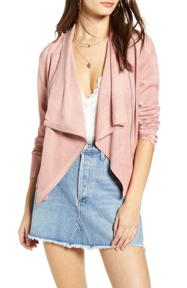 BLANKNYC Faux Suede Drape Front Jacket, Main, color, DUSTY ROSE