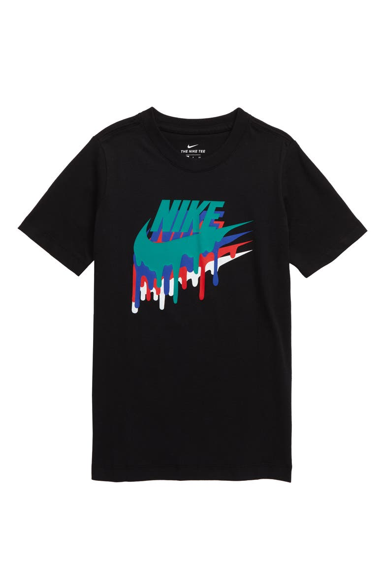 NIKE Sportswear Melted Crayon Graphic Tee, Main, color, BLACK