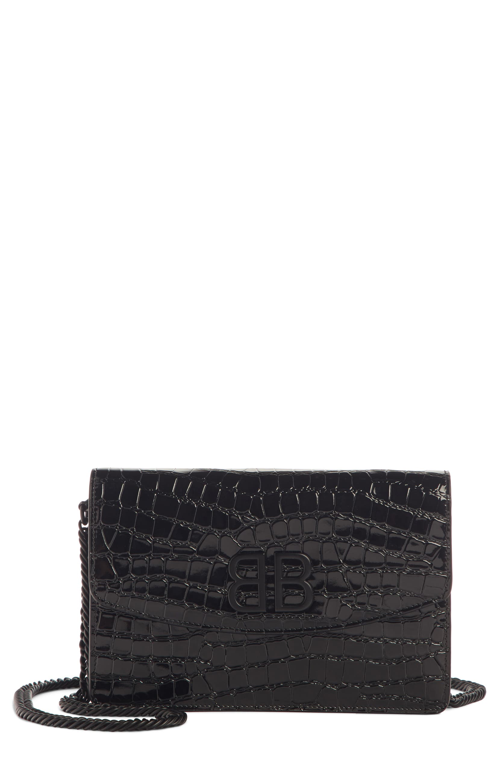 ce5b73562c3a Balenciaga BB Croc Embossed Leather Wallet on a Chain | Nordstrom