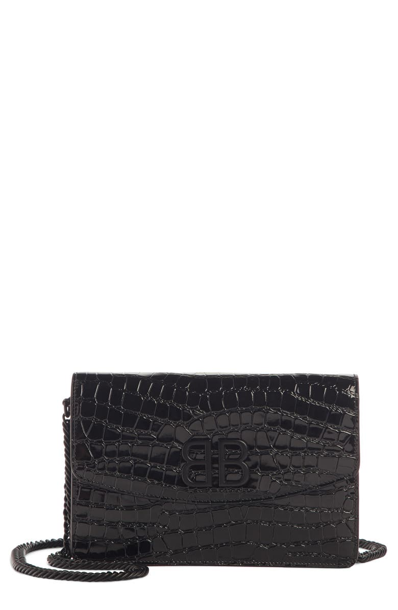 BALENCIAGA BB Croc Embossed Leather Wallet on a Chain, Main, color, BLACK
