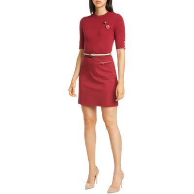 Ted Baker London Colour By Numbers Elsbeth Mixed Media Dress, Red