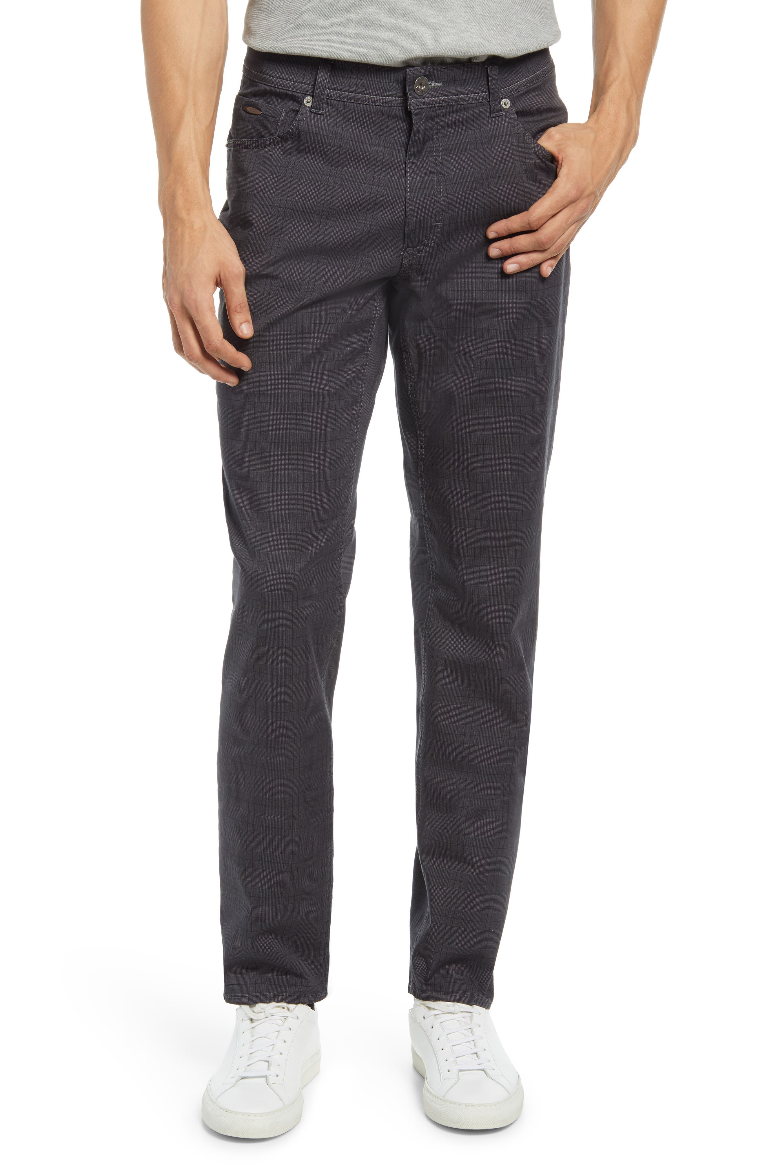 Cooper Plaid Stretch Cotton Five-Pocket Pants