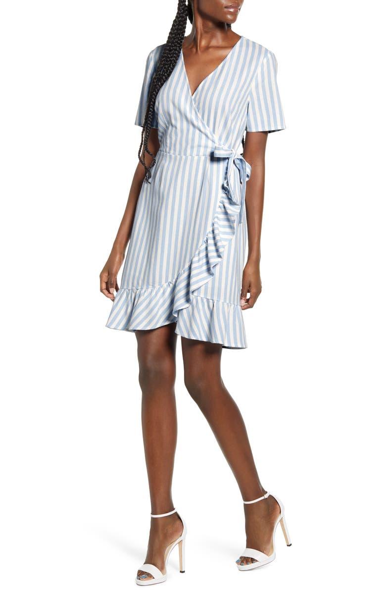 VERO MODA Helenmilo Stripe Wrap Linen Blend Dress, Main, color, PLACID BLUE STRIPE