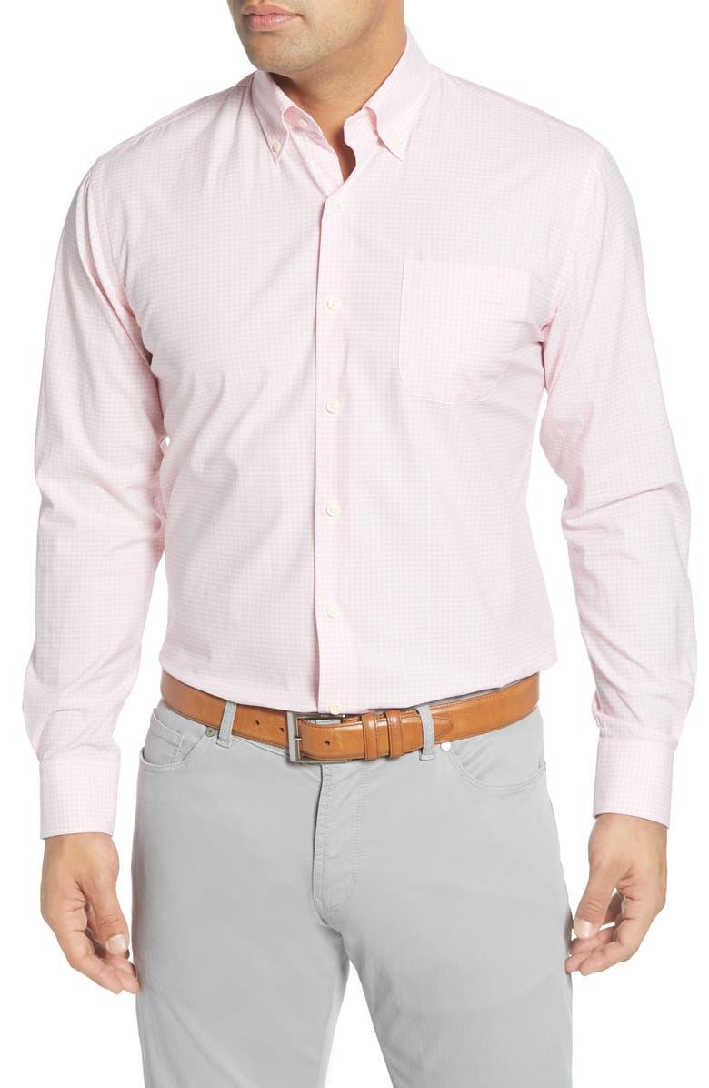 PETER MILLAR Brenton Regular Fit Gingham Check Button-Down Shirt, Main, color, PALMER PINK