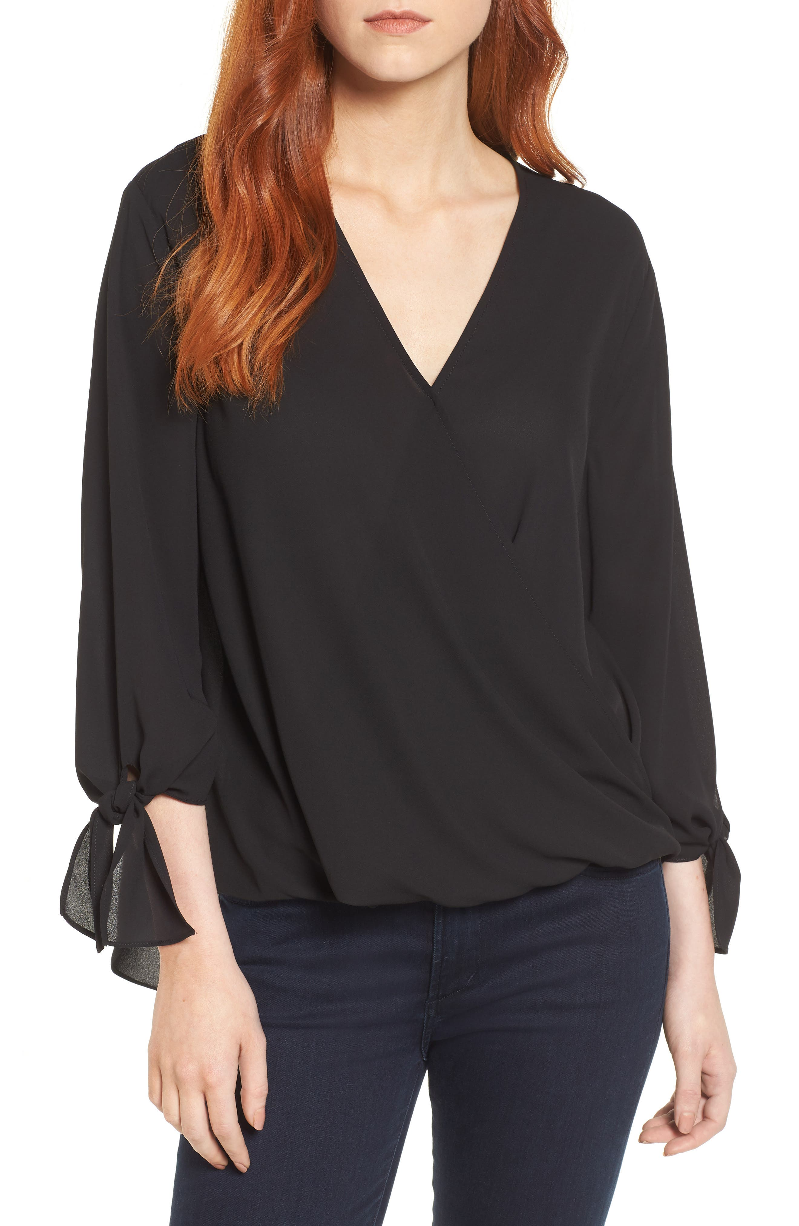 ,                             Surplice Neck Top,                             Main thumbnail 1, color,                             001