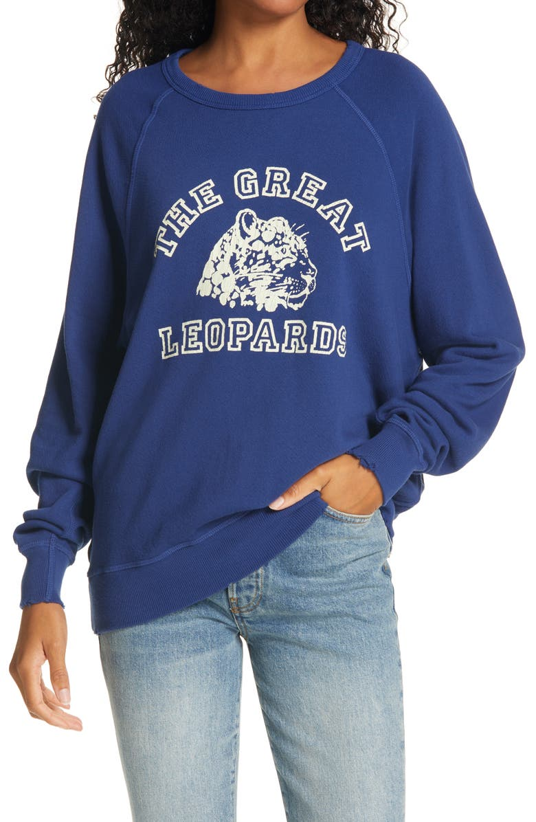 THE GREAT. College Sweatshirt, Main, color, COBALT