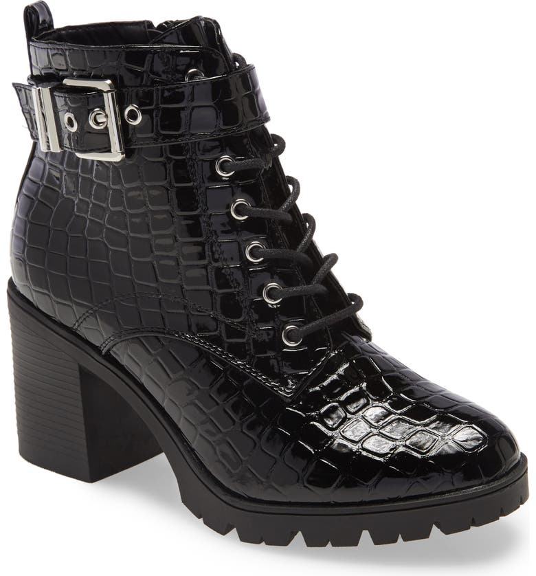 TOPSHOP Broadway Croc Embossed Lace-Up Boot, Main, color, BLACK