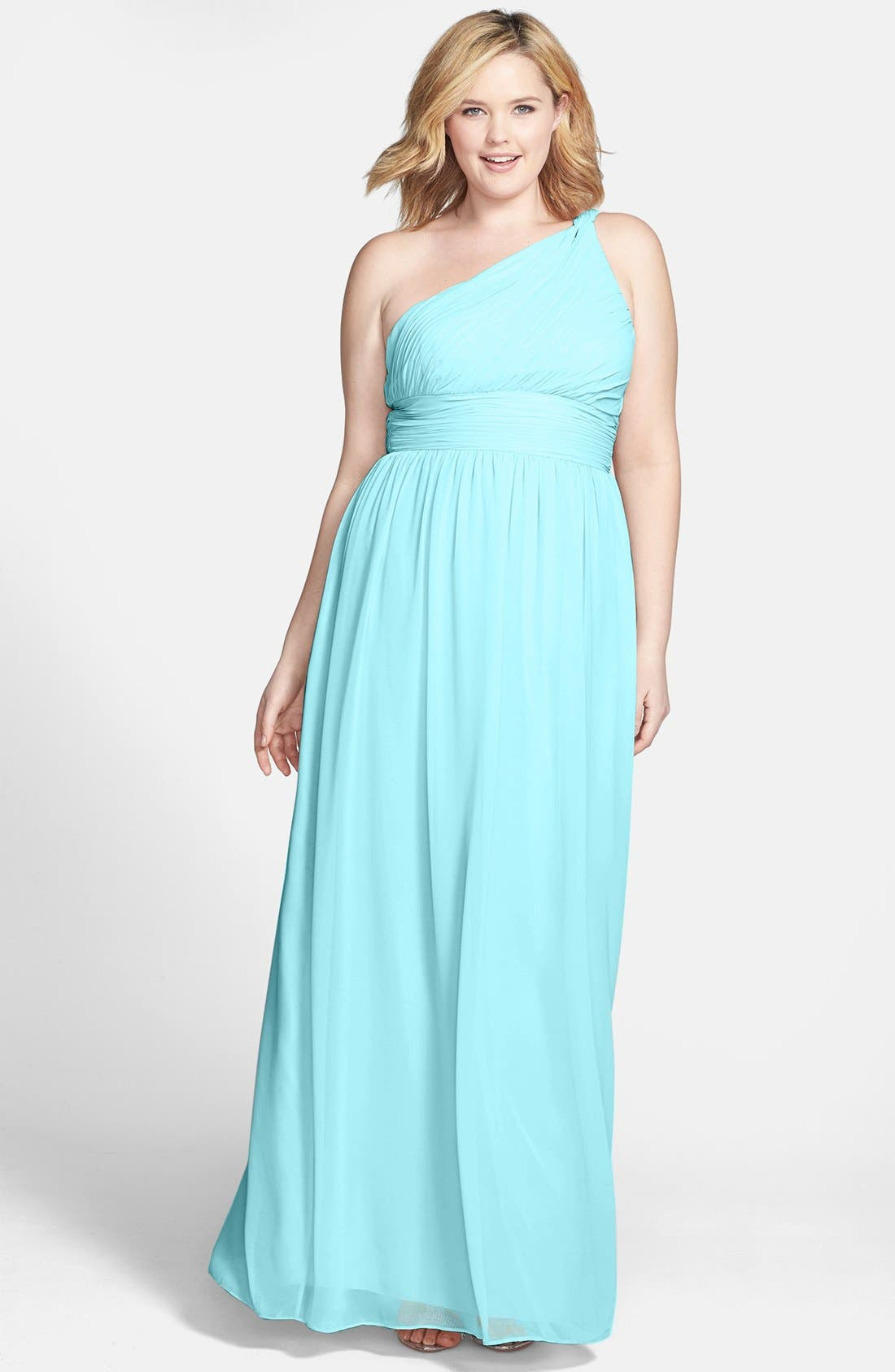 ,                             'Rachel' Ruched One-Shoulder Chiffon Gown,                             Alternate thumbnail 65, color,                             402