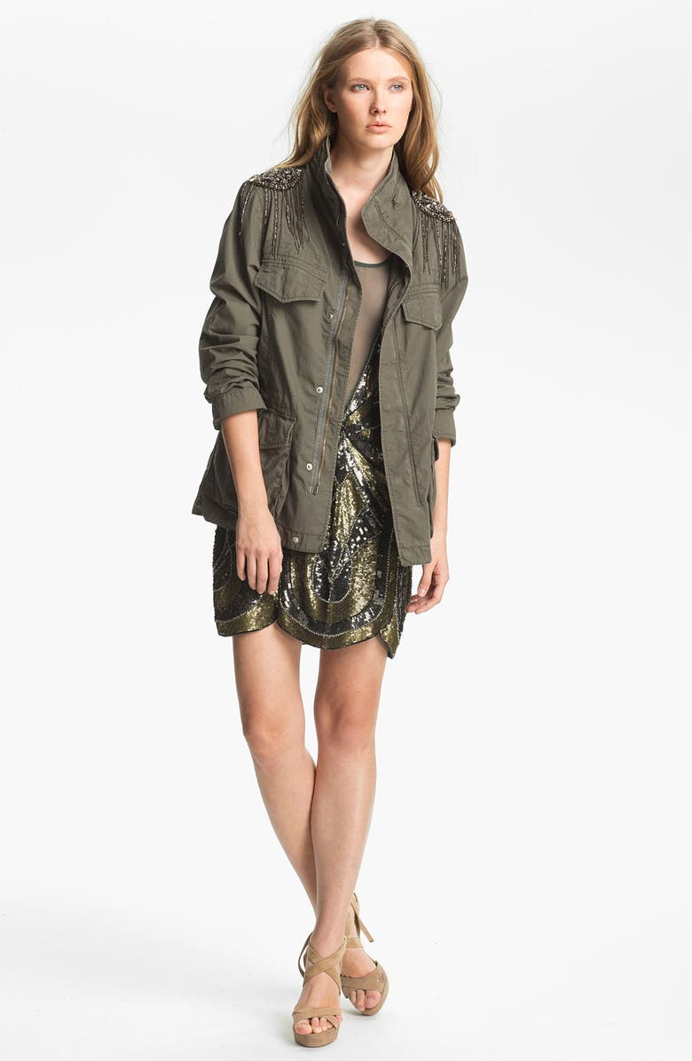 HAUTE HIPPIE Sequin Shoulder Military Jacket, Main, color, 302