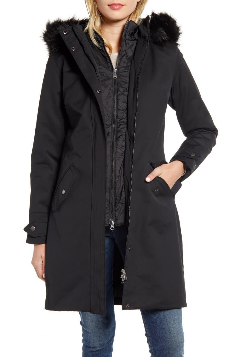 BARBOUR Bute Hooded Raincoat with Faux Fur Trim, Main, color, BLACK/ JUNIPER TARTAN