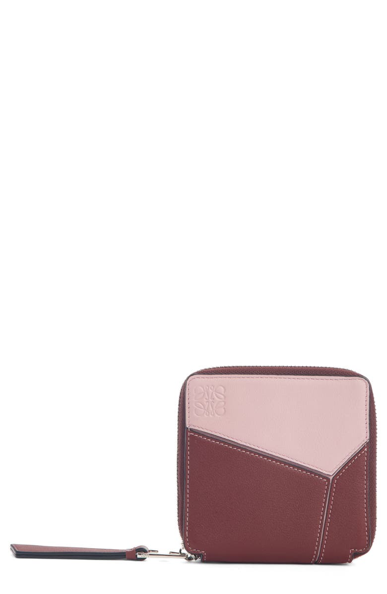 LOEWE Colorblock Puzzle French Wallet, Main, color, WINE/ PASTEL PINK