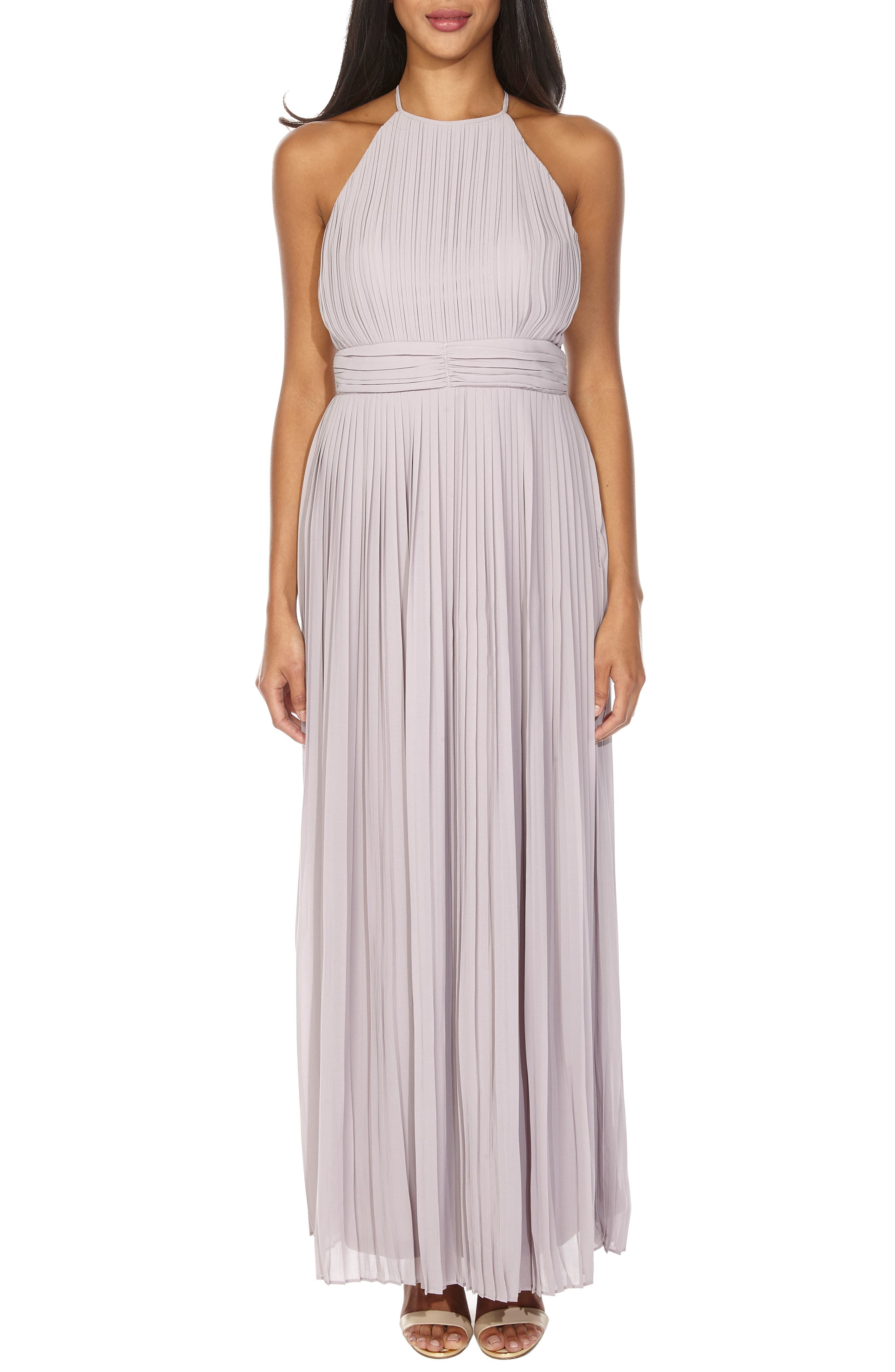 Tfnc Serene Sleeveless Pleat Gown, Grey