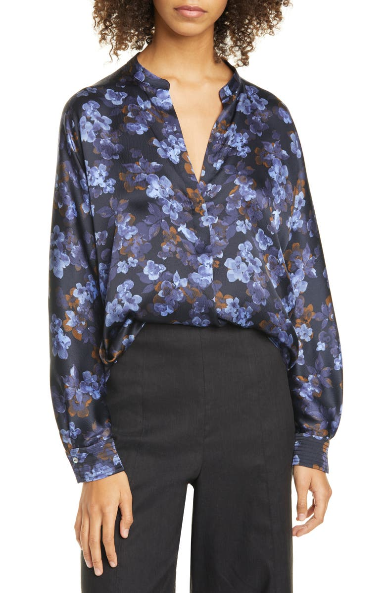 VINCE Plumeria Blooms Split Neck Silk Blouse, Main, color, 403
